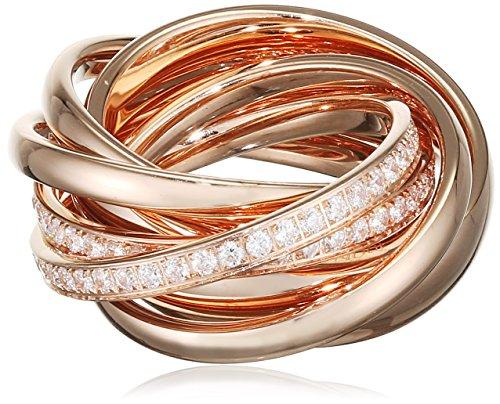 Joop! Damen-Ring Vergoldet Glas weiß, Rosegold Gr. 56 (17.8) - JPRG10631C180