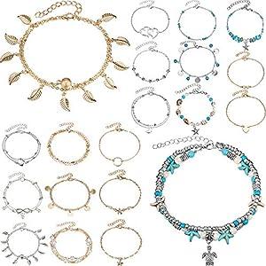 20 Stücke Einstellbare Fußkettchen Armband Set Böhmischen Fuß Kette Doppelschichten Perlen Kette Strand Fuß Schmuck für Damen Mädchen