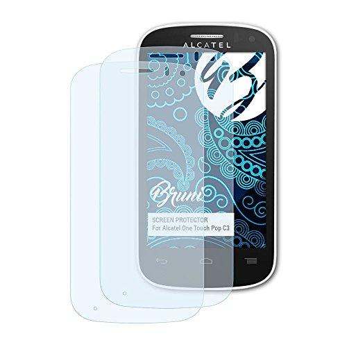 Bruni Schutzfolie für Alcatel One Touch Pop C3 Folie, glasklare Bildschirmschutzfolie (2X)
