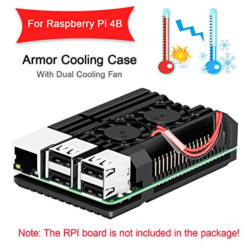Metal case MakerHawk double cooling fan Aluminum alloy for Raspberry Pi 4B, Integrated heat sink, Protection only for RPI oxide 4B