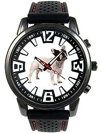 Bulldog francés Reloj para hombre con correa de silicona
