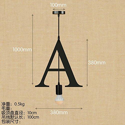String-kronleuchter Schatten (OOFAY QZY Englisch Alphabet Pendelleuchte, Kreative Schlafzimmer Wohnzimmer Restaurant Kaffee Dekoration,A)