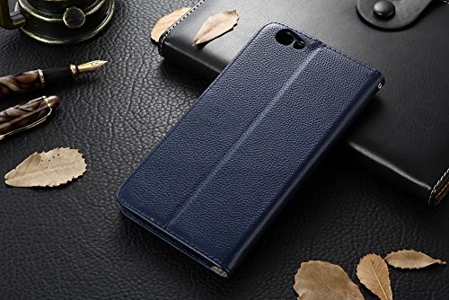 Für OPPO R9s Plus Case Cover Horizontale Flip Stand Weiche echtes Leder Litchi Texture Case mit Halter & Card Cash Slots & Foto Frame ( Color : Black ) Blue