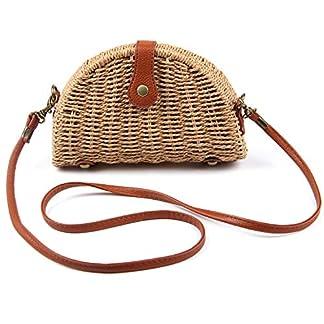 LUI SUI Bolso bandolera de paja Las mujeres tejen el bolso de verano Bolso de playa Bolsos estilo Bohemia para damas niñas