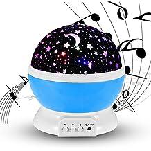 Estrellas Noche Proyector de luz con la música, Carryme USB recargable 4 modos Niños Bebé Niños Juguetes Cosmos girando redondo LED Night Light Proyector de la lámpara,