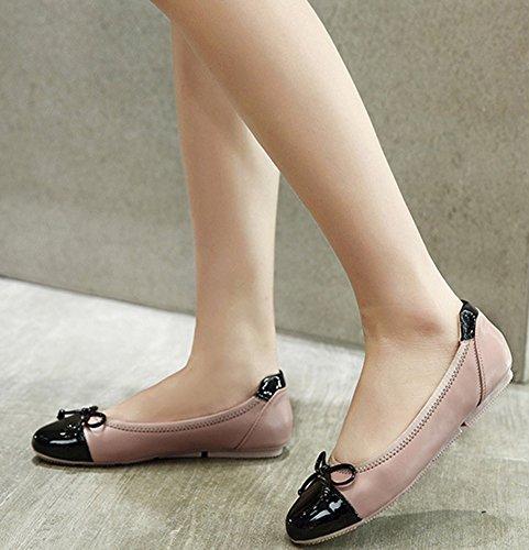 Aisun Damen Lack Lederoptik Schleifen Flache Schuhe Ballerinas Beige