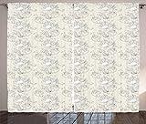 ABAKUHAUS Jugendstil Rustikaler Gardine, Romantische Braut AST, Schlafzimmer Kräuselband Vorhang mit Schlaufen und Haken, 280 x 260 cm, Elfenbein und Weiß