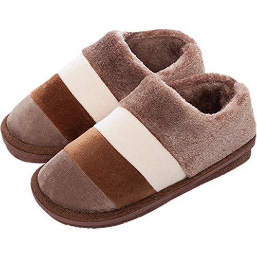 Minetom Donna Uomo Autunno Inverno Pantofola Coppia Interno Pantofole Antiscivolo Colore Splicing Cotone Scarpe Caffè(Per Uomo)