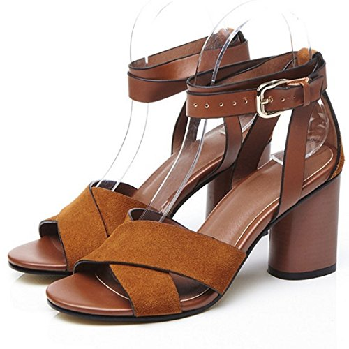 COOLCEPT Femmes Mode Cheville Sandales Orteil ouvert Bloc Chaussures Marron