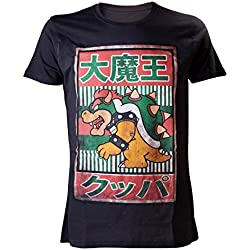 Mens ufficiale Super Mario Bros Bowser Kanji t-shirt-Nintendo nero