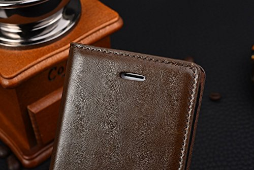 Business Ledertasche Magneetic Verschluss Fall Crazing Pferd Muster Wallet Stand Case Für IPhone 7 Plus 5,5 Zoll ( Color : White , Size : IPhone 7 Plus ) Brown
