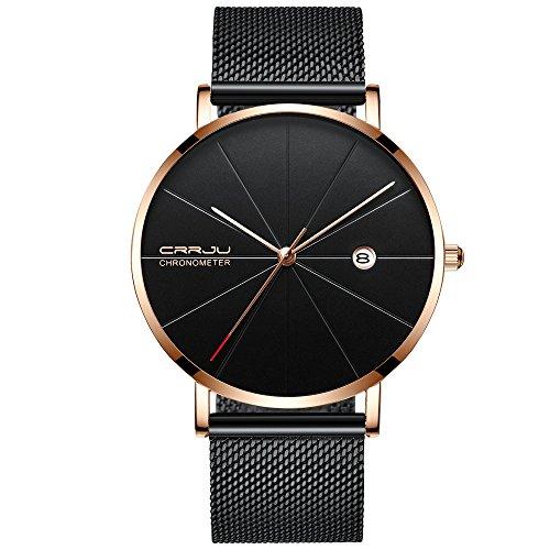 Huacat Herrenuhr Edelstahl Einfache und ultradünne Mode Business Casual Uhr Metallgitterband Damenuhr Armbanduhr FüR Herren Damen Slim Mit Mesh Metall Armband