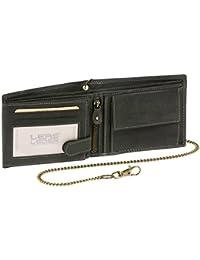 Biker Portefeuille pour homme et femme avec la chaîne Vintage-Style LEAS MCL, cuir véritable, noir - ''LEAS Chain-Series''