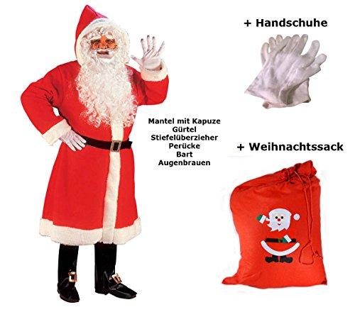 Santa Zeit Alte Kostüm - Scherzwelt Luxus Weihnachtmann Mantel mit Perücke, Bart, ...M/L - Set mit Sack + Handschuhe Weihnachten