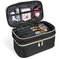 Lifewit Neceser Maquillaje 2 Pisos Bolso para Mujer Profesional Estuche Bolso de Maquillaje Bolsa de Cosméticos Organizador Portátil Funda de Viaje para Cosméticos Joyería/Labial/Cepillo de Sombra