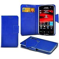 (Blue) Blackberry Storm 9500 Mega sottile Protezione in ecopelle ventosa Custodia a portafoglio Pelle Copertura Caso Cover con carta di credito/debito Slot Aventus