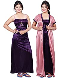 Bailey sells Embroidery Printed Women's Satin Night Gown/Night Dress/Nighty with Robe Gown 2Pc Nightwear Set Free Size Purple & Pink