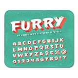 Mouse Pads Bold ABC Retro Styled Funny 3D 'Furry' Alphabet Letters Numbers and Symbols Alphabetical Brush Mouse Pad for Notebooks,Desktop Computers Mouse Mats, Office Supplies