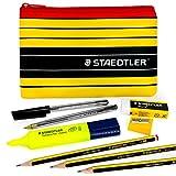 Trousse de stylos à billeStaedtler Noris –Mine 430M et crayons graphite Noris 120 –avec surligneur Staedtler, gomme, taille-crayon et trousse à crayons.
