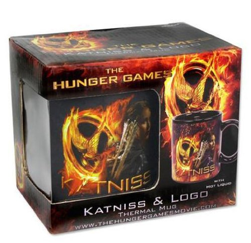 Juegos del hambre efecto termoeléctrico-taza de Katniss y Logo - Taza de café de cerámica, diseño de cambia por el calor.