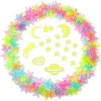 Estrellas 3D Estrellas Luminosas Pegatinas de Universo Brillante con Puntos Adhesivos de Doble Cara, 212 Piezas