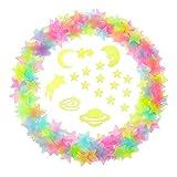 3D Étoiles Lumineux Étoiles Phosphorescentes Sticker Autocollant avec des Points Adhésifs Double Face, 212 Pièces