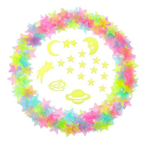 3D Sterne Leuchten Stern Schimmern Universum Aufkleber mit Doppelseitigen Klebepunkte, 212 Stück