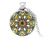 Leonor - Collar con Colgante de Flor de la Vida, medallón para Yoga, Chakra, Mandala