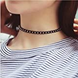 #7: ITS - New Black Velvet Choker Silver Dotted Necklace For Women Girls