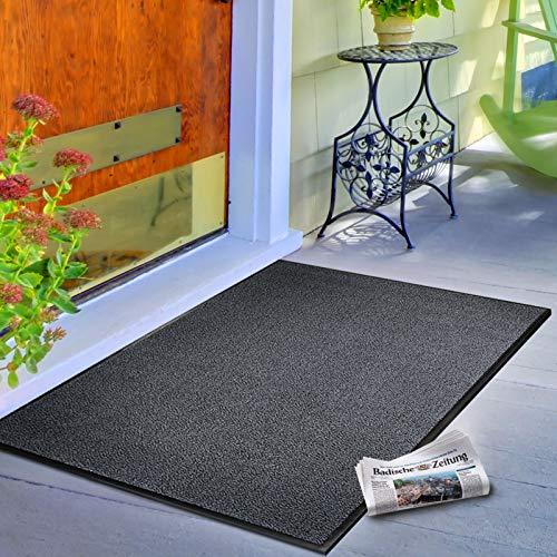 casa pura® Premium Fußmatte / Sauberlaufmatte für Eingangsbereiche | Fußabtreter mit Testnote 1,7 | Schmutzfangmatte in 8 Größen als Türvorleger innen und außen | anthrazit – grau | 60x90cm - 4