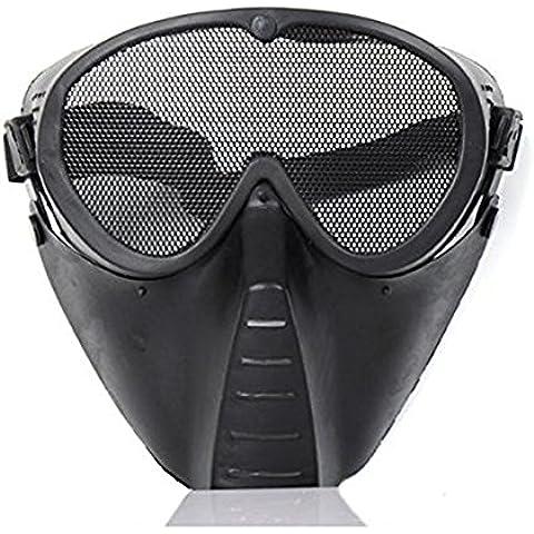 AIRSOFT tattico Armour Maschera regolabile in acciaio inox Airsoft Paintball BB Gun Full Face Occhi Naso indossare schermo guardia di sicurezza in rete maschera airsoft, nero