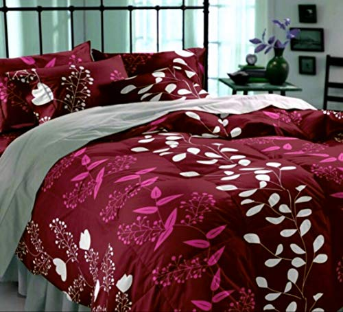 DECO READY Glace Cotton King Size Floral Design Print Cotton King Size Double 1 Bedsheet with 2 Pillow Covers Multi Colour