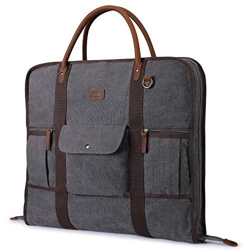 S-ZONE Kleidersack für Reisen, Segeltuch, Echtleder, für Geschäftsreisen und Aufbewahrung, grau (Grau) - S-ZONE D04V933A
