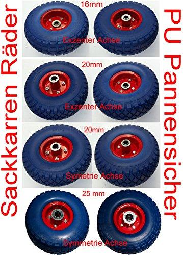 JaKoService 2 Stück PU-Räder 260 mm mit Kugellager Sackkarrenrad Bollerwagenrad Vollgummi pannensicher (20mm exentrisch)