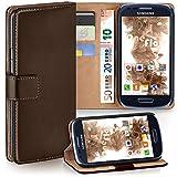 moex Samsung Galaxy S3 Mini | Hülle Dunkel-Braun mit Karten-Fach 360° Book Klapp-Hülle Handytasche Kunst-Leder Handyhülle für Samsung Galaxy S3 Mini S III Case Flip Cover Schutzhülle Tasche