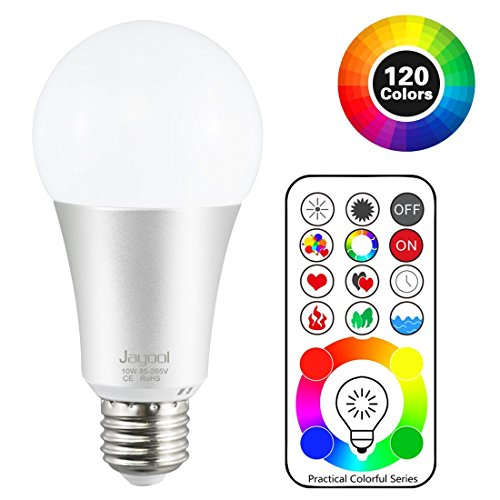 Jayool 10W E27 120 Multi Colours RGBW Colour Changing LED Light Bulb, Edison Screw Remote Control Bulb and Timing, RGB+Daylight White (6500K)--3rd Generation (1 Pack)
