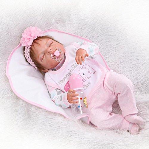 ZIYIUI doll 57 cm Poupée Reborn Baby Dolls Tout Le Corps Silicone Souple 23 inch Poupée Réaliste Yeux fermés Reborn Fille Correcte pour Bébé Reborn Baby Dolls Jouet Cadeau de Noel
