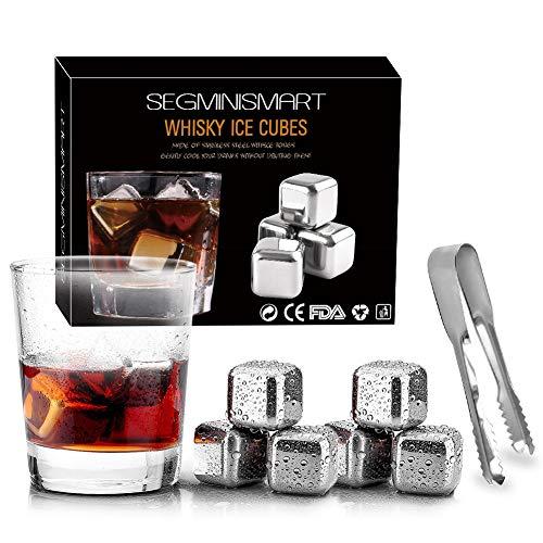 SEGMINISMART Edelstahl Whisky Stones Geschenkset 6 Stück Whisky Ice Stones + Eiszange