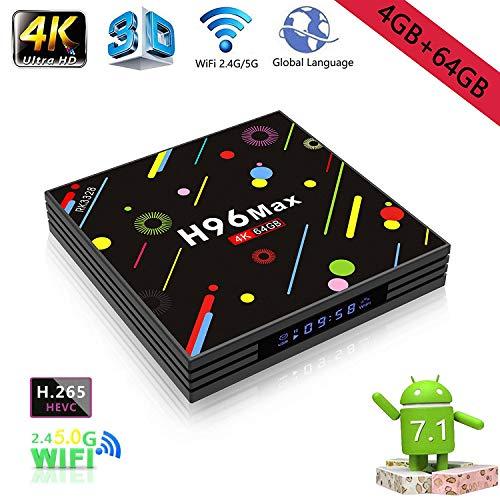 [Amazon Warehouse Shippment] -Android TV Box, H96Max 4GB + 64GB Smart 4K TV Box Android 7.1RK3328Quad Core CPU Set Top Box Kompatibel mit TV 3D 4K Ultra HD Smart TV Box