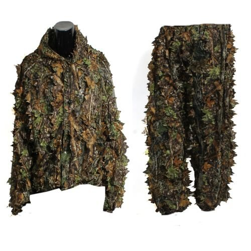 Costume de ghillie - TOOGOO(R)Feuille 3D adultes Cosyume de Ghillie Woodland Camo/Camouflage chasse au cerf traque