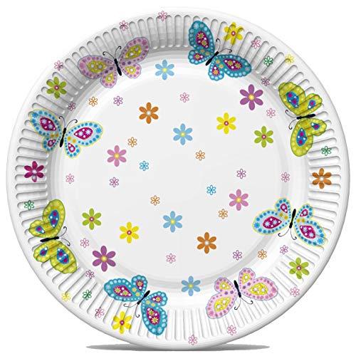 8 Pappteller Blüten und Schmetterlinge als Tischdeko im Frühling und Sommer Ø22,7cm Teller 10