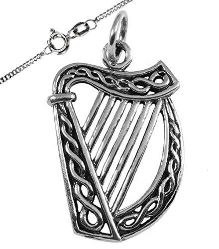 Irische Harfe Schmuck Anhänger 925 Silber Klein Celtic Viking Kelten