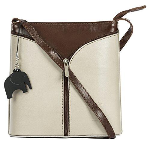 BHBS Kleine Damenumhängetasche aus echtem italienischem Leder 18 x 20 x 6 cm (B x H x T) Stone (Grey) - Brown Trim