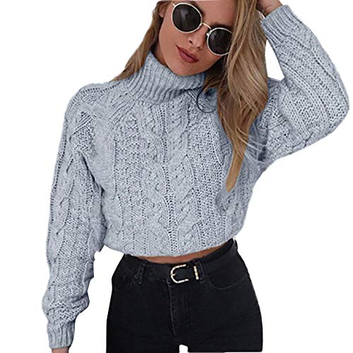 fils pullover JERFER Winter Hoher Kragen Gestrickt Sweatshirt Damen Umbilical Twist Pullover