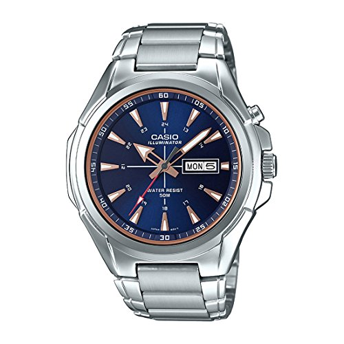 Casio MTP-E200D-2A2V Men's Stainless Steel Illuminator Day Date Blue Dial Watch