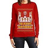 Weihnachtspullover Damen - Go Jesus It's Your Birthday Frauen Sweatshirt Medium Rot
