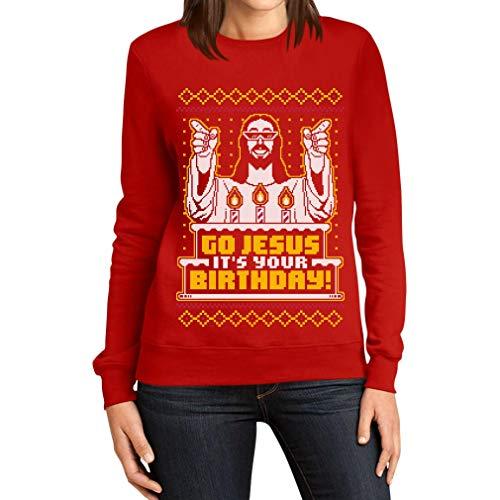 shirtgeil maglione brutto di natale per lei - go jesus it's your birthday felpa da donna small rosso