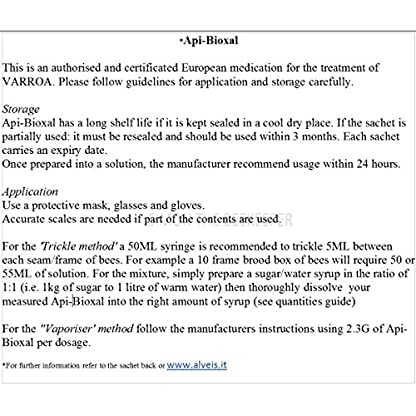 simonthebeekeeper Api-Bioxal: Certificated Varroa treatment for Bees with 60ML Syringe 4