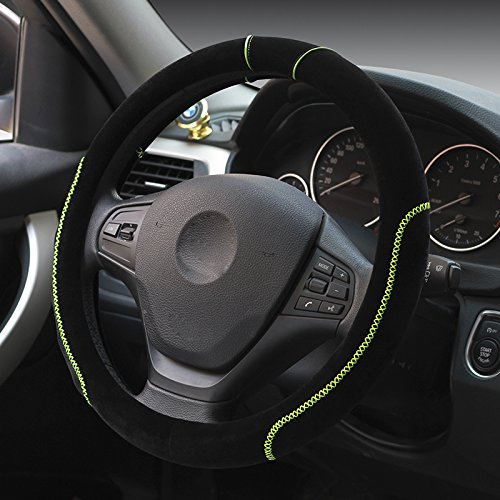Hivel Winter Hit Farbe Plusch Lenkradbezug Weich Warm Lenkradhulle Universal Anti Rutsch Hit Color Lenkradschoner Fahrzeug Auto Lenkradabdeckung Vehicle Car Steering Wheel Cover 38cm - Grun