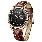 BUREI Männer genaue Quarz-Armbanduhren mit Tag und Datum Kalender Rose Gold Hände schwarzes Zifferblatt braun Lederband